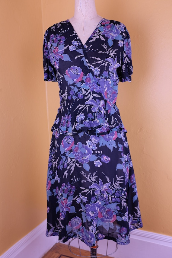 1980s Does 1940s Floral Sheer Swing Dress