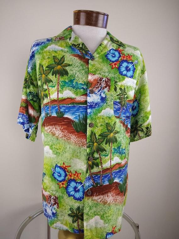 Mens 1990s Hawaiian short sleeve shirt