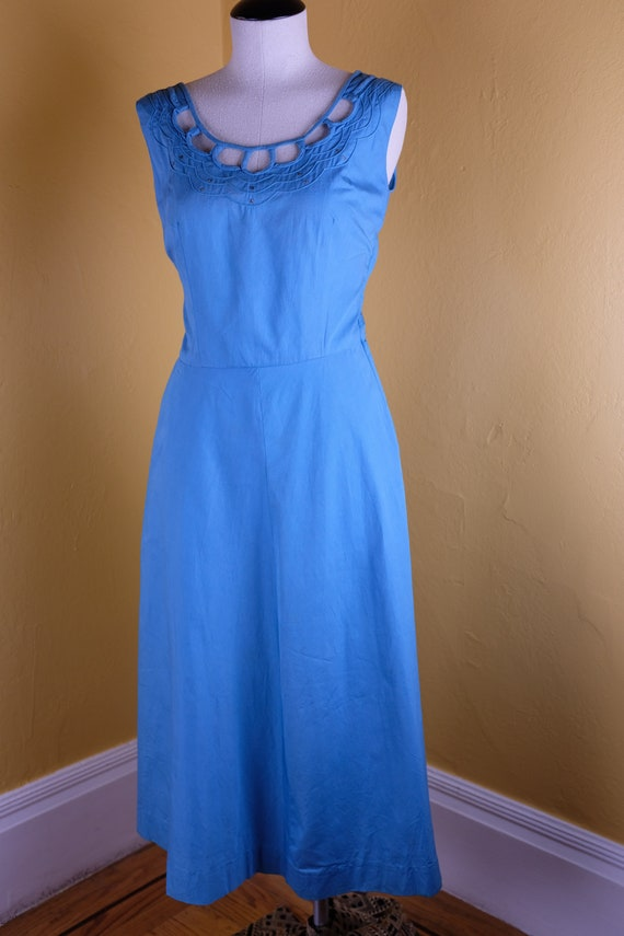 1940s/50s Aqua Cotton Dress