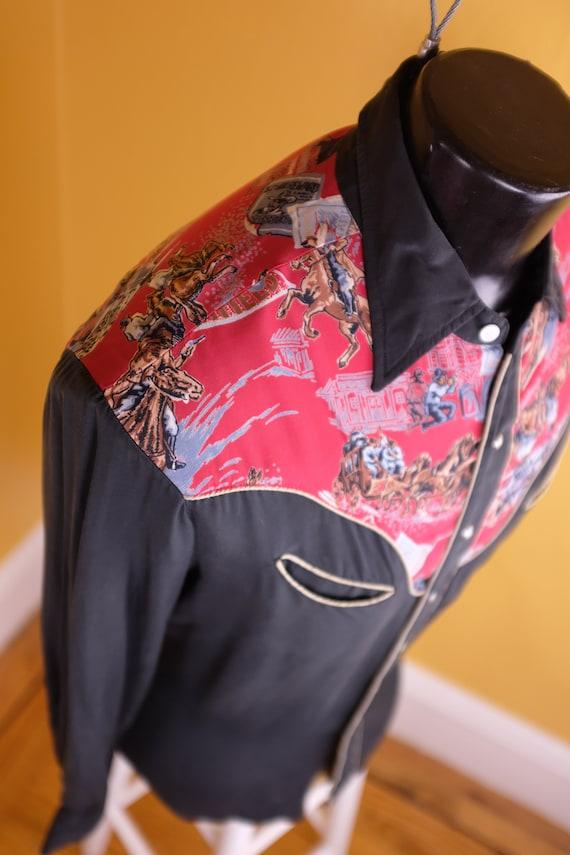 1950s/1960s Rayon Jesse James Themed Western Shirt - image 4