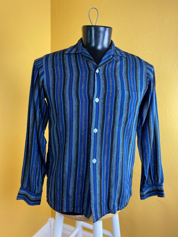 Beautiful 1950s Blue Striped Rayon Loop Collar Shi