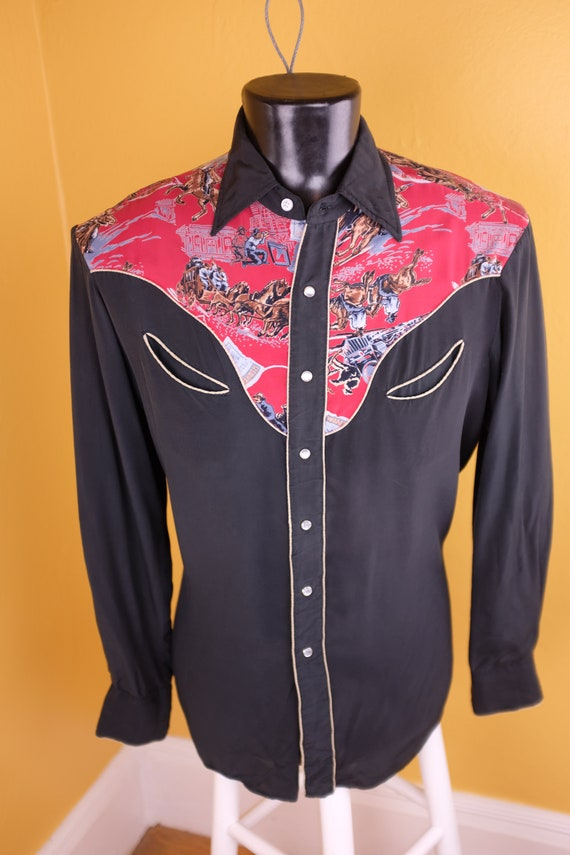 1950s/1960s Rayon Jesse James Themed Western Shirt