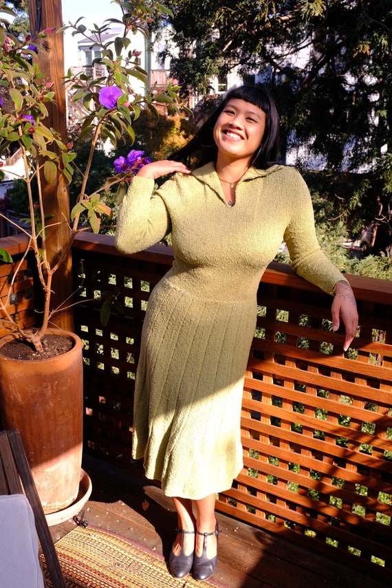 1940s Moss Green Knit Dress - Size 10