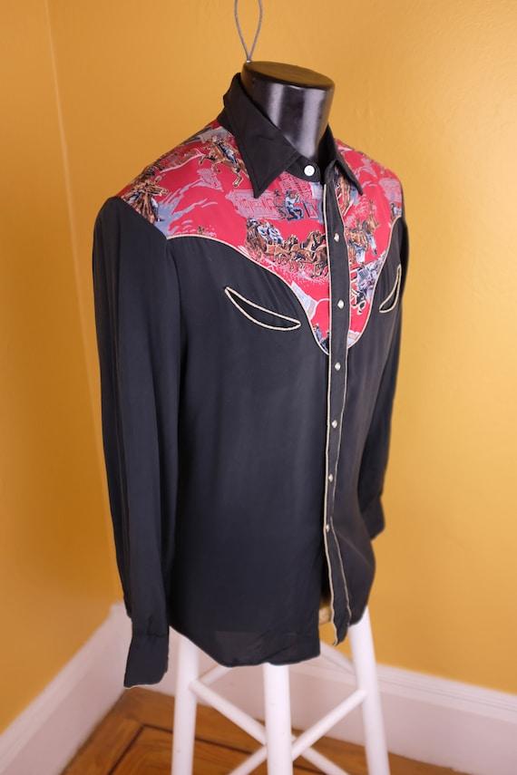 1950s/1960s Rayon Jesse James Themed Western Shirt - image 2