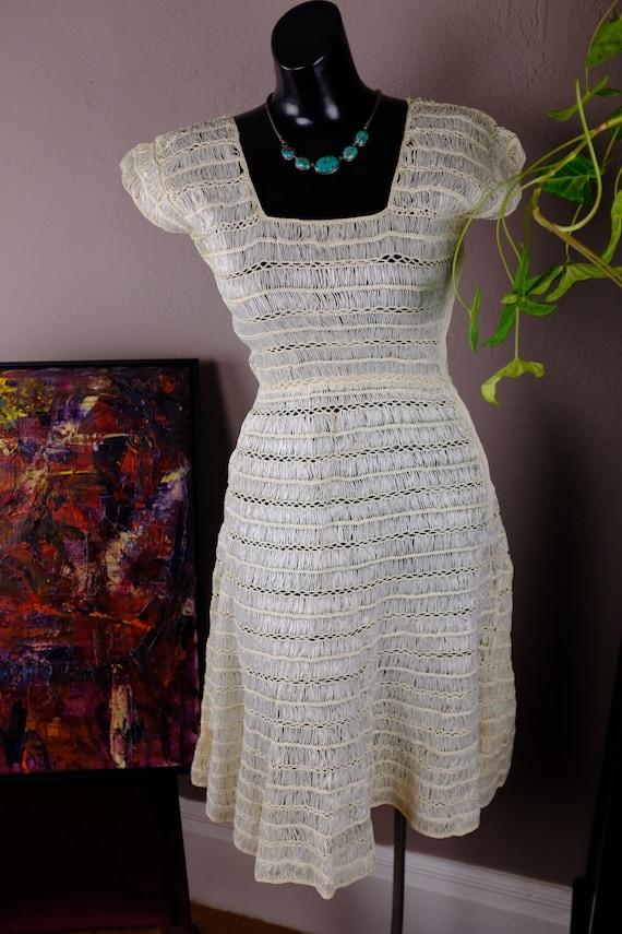 1940s Cream Raffia Dress