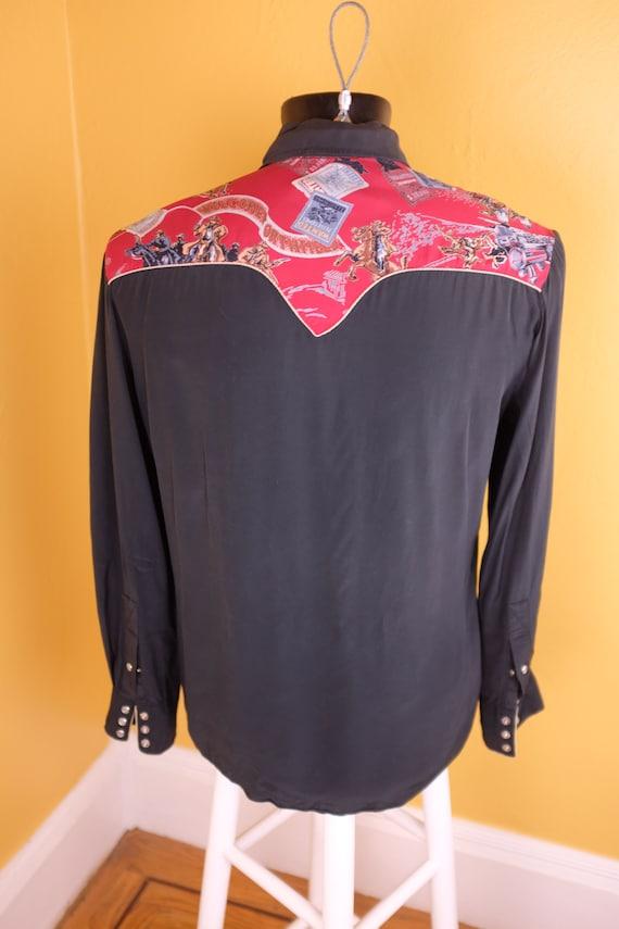 1950s/1960s Rayon Jesse James Themed Western Shirt - image 3