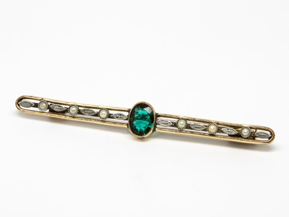 Pearl & Green Gemstone Brooch