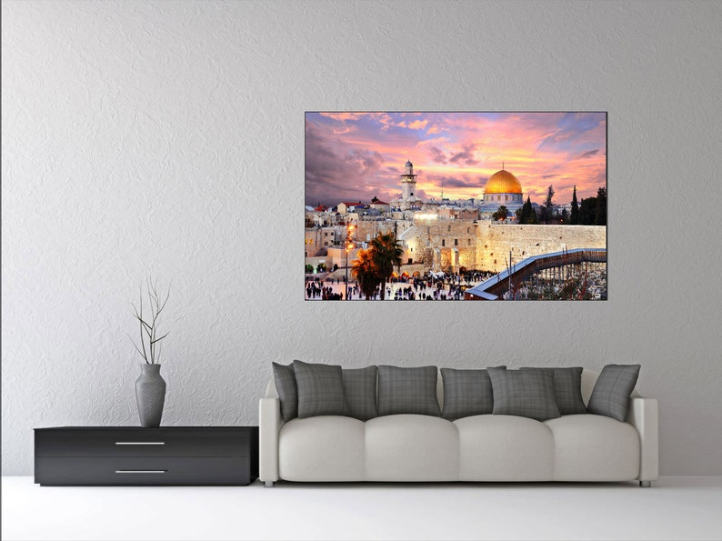 House Gift For Her Home Art Piece Jerusalem Sunset Canvas Set City At Night Wall Decoration Multi Panel Print Decor Temple Mount Picture