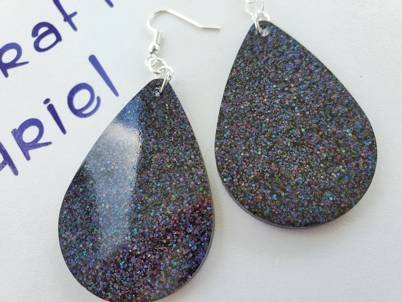 Black Tear Drop Earrings
