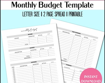 Digital Monthly Budget Template | Printable PDF | Financial Planner Budget Insert - Letter Size | Minimal Design