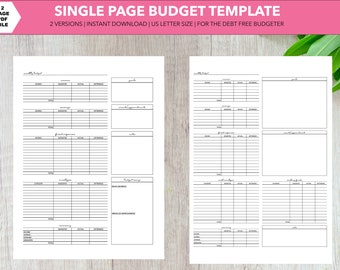 Single Page Budget Printable Instant Download | Debt Free Budgeter