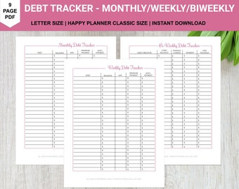 Weekly Biweekly Monthly Debt Tracker | US Letter Size and Happy Planner Classic | PDF Printable Download | Planner Insert