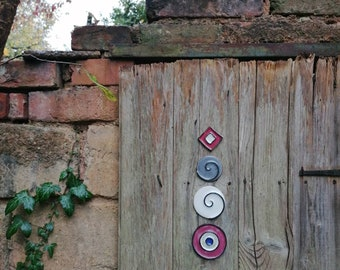 Handmade tiles - spirals in pink, grey and white