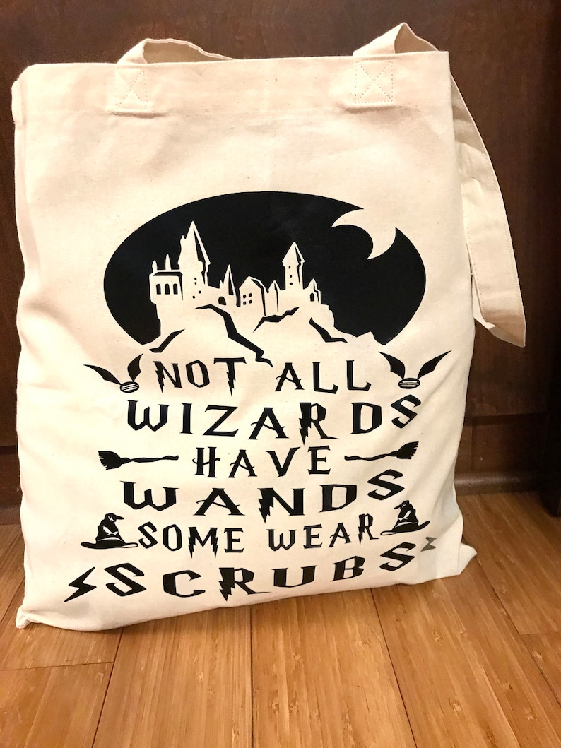 Not All Wizards Have Wands Some Wear Scrubs Small Canvas Tote Bag