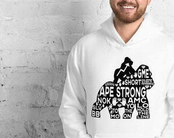Ape Strong, Hold the Line, Rocket to the Moon, Wallstreetbets, AMC, Game Stop, GME, BB, Sweatshirt, Hoodie