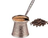 Turkish Coffee Pot Cezve, Arabic Coffee Maker for Stovetop, Ibrık Briki Greek Coffee Pot, Antique Copper, 8 oz