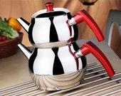 Turkish Tea Pot Set, Turkish Samovar Tea Maker, Stove Top Tea Kettle, Tea Kettle for Loose Leaf Tea, Self-Strainer Caydanlik