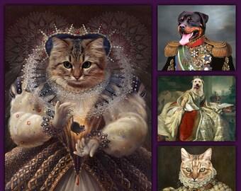 Dog Portrait Cat lover Custom gift Royal pet portrait Personalized gift Regal Pet Custom pet portrait French Princess