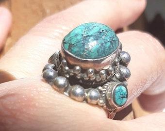Navajo Made Arizona Turquoise Ring By Chris Etsitty Size 5.75
