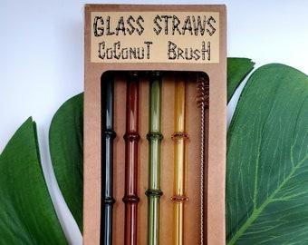 4 Glass Bamboo Shaped Straws & Coconut Brush   Reusable Straws   Eco Friendly Straws   Colored Straws   Green   Borosilicate Glass