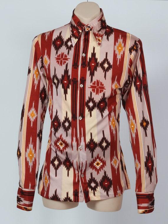 1970's XS aztec Western body shirt - image 1