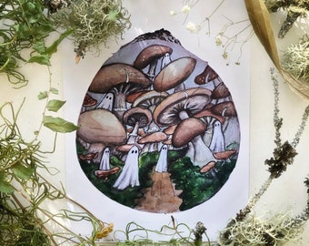 Cottagecore Art Forest Art Mushrooms Witch Art Fairy Garden Original Watercolor Mushroom Tree Spirits Whimsical Woodland Nature Art