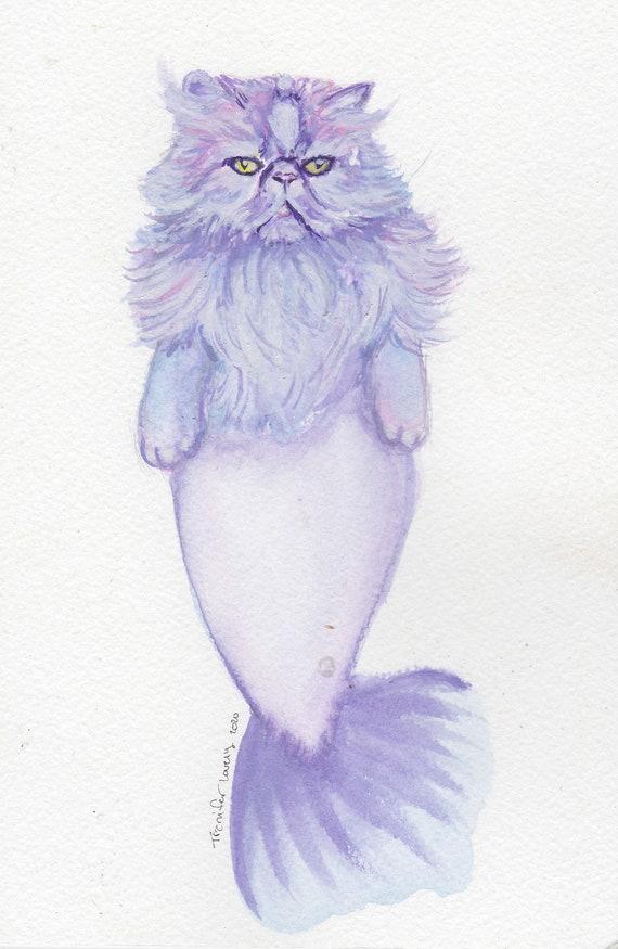 Whimsical Art Mermaid Watercolor Mermaid Cat Print Cute Cat Art Art Print Cat Wall Art Cat Watercolor Cat Art Cute Wall Art,
