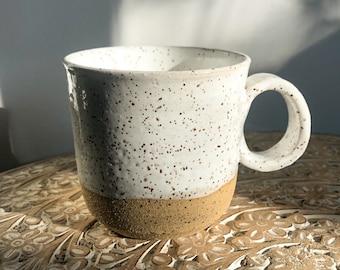 Handmade Wheel Thrown Stoneware Pottery Tea Cup Blue Bronze Rustic