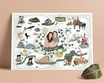 Love story map, couple portrait, custom portrait, personalized gift, family gift, unique wedding gift, family memory, life story map, couple