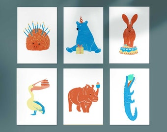 Postcards, set of 6 + 1 FREE, birthday cards, animal illustration, greeting cards, Free, birthday, animal prints, zoo animals, gift cards