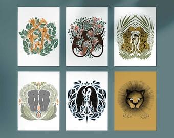 Postcards, set of 6 + 1 FREE, animal cards, animal illustration, postcards, cards, Free, art nouveau, animal prints, zoo animals, gift cards
