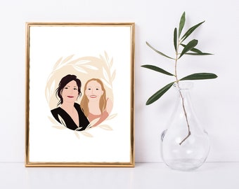 Custom portrait of mother and daughter, portrait of loved ones, personalized special gift, A4 personalized portrait, portrait for mother