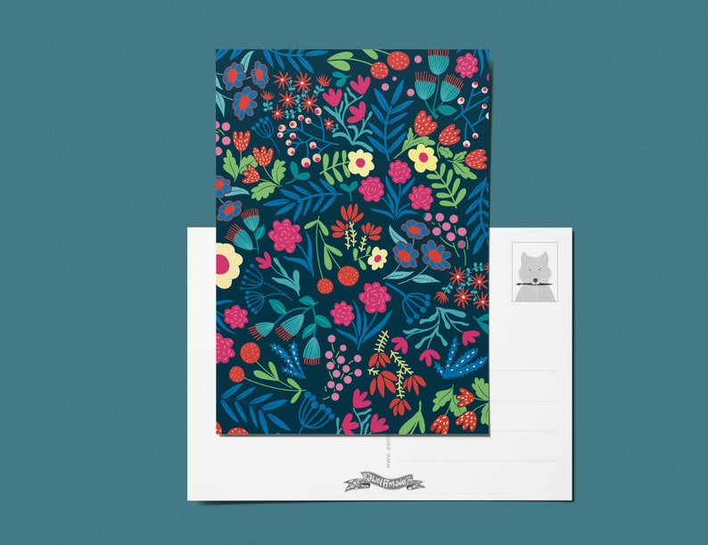 flowers printed card mix and match A6 postcard Happy greeting card with flowers cheerful card