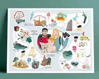 Love story map, couple portrait, custom portrait, personalized gift, love, custom portrait, personal gift, special gift, wedding present