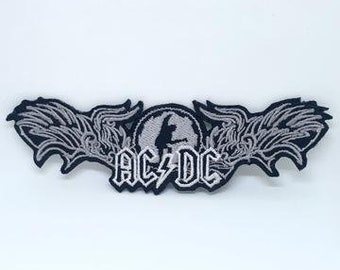 Ac//Dc Acdc Brodé Doré à Repasser Patch Heavy Métal Rock Punk Sac à Dos Badge