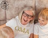 Oma Bügelbild mit Kindernamen personalisiert