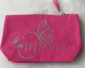Cosmetic bag Mother's Day (pink / black) with motif