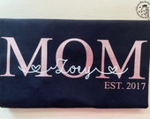 Ironing image Mom EST / Dad EST personalized with child's name and year of birth