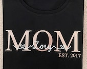 Mom T-Shirt with Children's Name and Year of Birth / MOM EST (Organic Cotton) Personalized