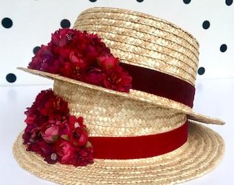 CANOTIER FLORES red and burgundy - Boater straw hat red flowers - Chapeau de plaisancier canotier fleurs rouge