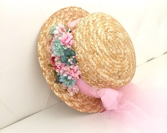 Canotier pink tul bow and mint