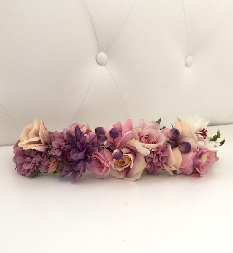 Mauve and pink velvet flower belt