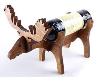 North American Resting Moose Wine Bottle Holder Christmas Gift /& Home Decor