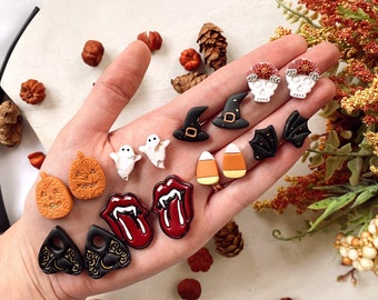 Halloween Studs, Fall Studs, Stud Earrings, Polymer Clay Studs, Gifts for Her, Spooky Season, Witchy, Skulls, Vampire