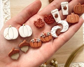 Fall Stud Earrings, Stud Pack, Polymer Clay Earrings, Pumpkins, Moons, Coffee, Maple Leaf, Statement Earrings, Fall Earrings, Gifts for Her