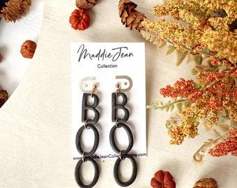 BOO Earrings, Halloween Earrings, Fall Earrings, Spooky, Polymer Clay Earrings, Black, Glitter, Gifts for Her