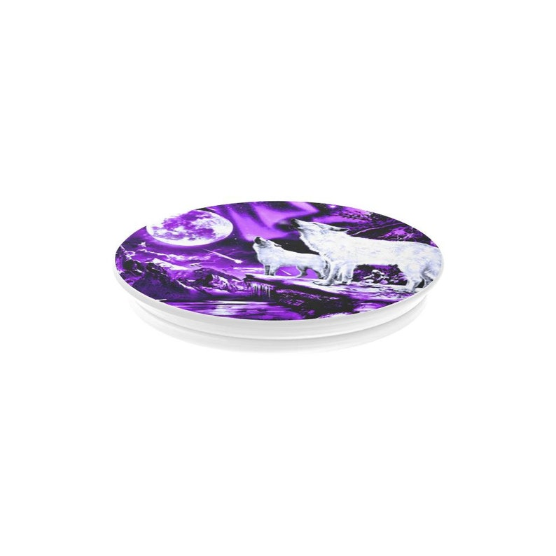 Purple Sky Animal Pop Socket Nature Cell Accessory Howling Wolves Multi-Function Cell Phone Stand