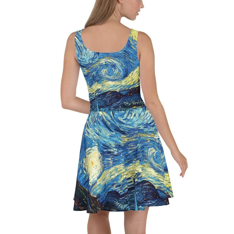 Vincent van Gogh Famous Artwork Print Dress Starry Night Skater Dress Summer Sleeveless Dress