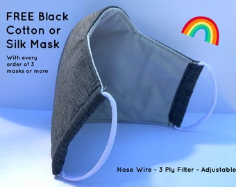UK BREATHABLE Triple Layer Face Mask, Triple Layer Filter, Adjustable Soft Round Strap. Premium Fabric Cloth Face Mask. Washable Face Mask