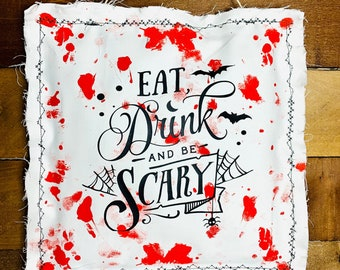 "Eat Drink And Be Scary Halloween Sign ~ Frame Wood Box 6""x6"""